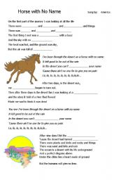 English Worksheets: Lesson Plan on The Desert : song by America Horse with No Name.