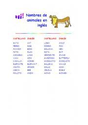 English Worksheets: ANIMALES EN INLES
