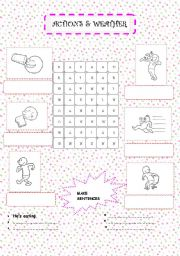 English Worksheets: ACTIONS & WEATHER REVISION (2 PAGES)