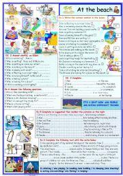 English Worksheet: At the  beach