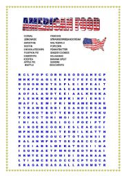 English Worksheet: American Food Wordsearch