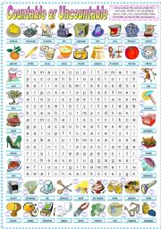 English Worksheet: COUNTABLE OR UNCOUNTABLE -WORDSEARCH (B&W VERSION INCLUDED)