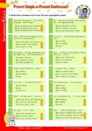 English Worksheet: Grammar Quiz series (6)  -  Present Simple or Present continuous?