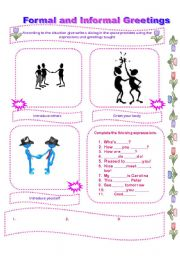 Formal and informal greetings esl worksheet by lomasbello english worksheet formal and informal greetings m4hsunfo