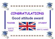 English Worksheet: CLASSROOM AWARDS