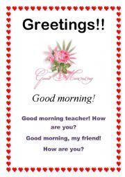 English Worksheets: Greetings - Good morning (5/10)