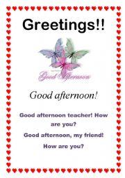 English worksheets greetings good afternoon 610 english worksheet greetings good afternoon 610 m4hsunfo