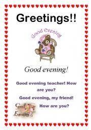 English Worksheets: Greetings - Good evening (7/10)