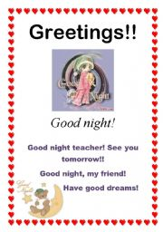 English Worksheets: Greetings - Good night (8/10)