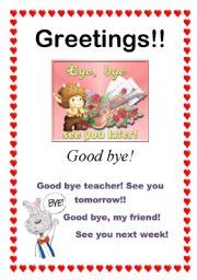 English Worksheets: Greetings - Good bye! (10/10)