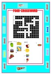English worksheet: FOOD-CROSSWORD AND WORDSEARCH