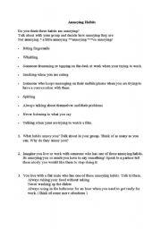 English Worksheets: ANNOYING HABITS