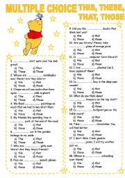English Worksheets: MULTIPLE CHOICE 6 THIS, THESE, THAT, THOSE
