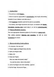 English Worksheets: finger activity