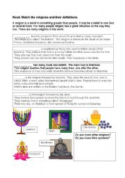 English Worksheets: Match the religions and their definitions