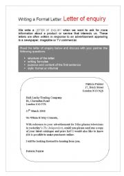 English Worksheets: Letter of Enquiry I