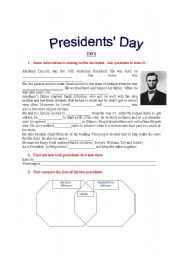 English Worksheet: Presidents� Day: information gap activity about the lives of Lincoln and Washington
