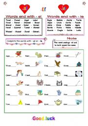 English Worksheets: words end with ( el ) or  ( le )