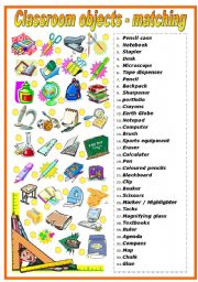 English Worksheet: CLASSROOM OBJECTS - MATCHING EXERCISE (B&W VERSION INCLUDED)