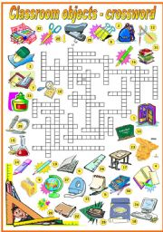 English Worksheet: CLASSROOM OBJECTS - CROSSWORD (B&W VERSION INCLUDED)