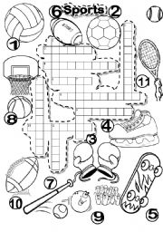English Worksheet: SPORTS CRISS CROSS PUZZLE and FALLEN PHRASE