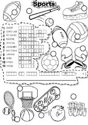 English Worksheet: SPORTS PUZZLE and LETTER TILES