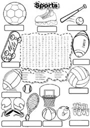 English Worksheet: SPORTS WORDSEARCH and FILL IN