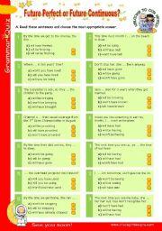 Grammar Quiz series (7) - Future Perfect or Future Continuous?