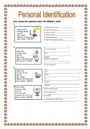 English Worksheets: Personal Identification (19.07.09)