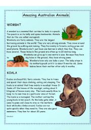 English Worksheets: Amazing Australian Animals - Intermediate level - (( 14 pages )) - editable