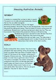 Amazing Australian Animals - Intermediate level - (( 14 pages )) - editable