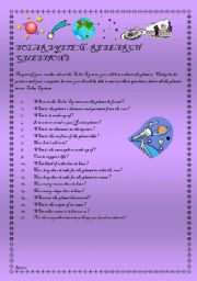 English Worksheet: Solar System - What�s in Space? Elementary/Intermediate - (( 8 Pages )) - editable