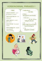 English Worksheets: Verbonominal phrases