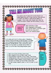 English Worksheet: Tell me about you! Reading comprehension and guided writing exercise (2 sheets)