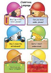English Worksheet: Classroom Language poster (part 1)