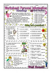 English Worksheet: Worksheet: Personal Information (With Answer Key)