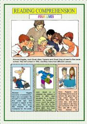 English Worksheets: READING COMPREHENSION - FOUR LIVES