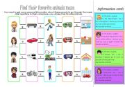 English Worksheet: Find their favorite animals!