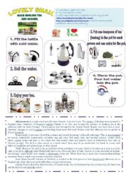 English Worksheet: LOVELY SNAIL MAKE ENGLISH TEA AND SCONES. 1 PAGE.