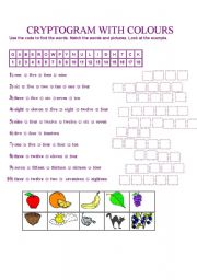 English Worksheet: CRYPTOGRAM WITH COLOURS