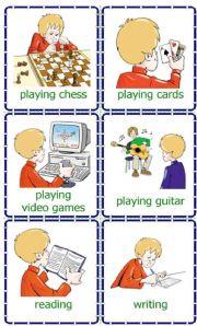 English Worksheet: Hobbies _ cards / flash-cards
