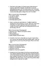 English Worksheets: main ideas