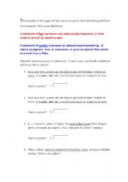 English Worksheets: Facts and Opinions