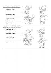 English Worksheets: What do you do in the morning?