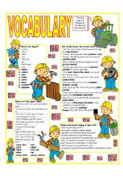 English Worksheet: �RECYCLING VOCABULARY� - TOPIC: THE LIVING ROOM - THE DINING ROOM - THE KITCHEN - THE BATHROOM
