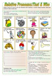 English Worksheet: Relative Pronouns: That & Who (completely editable)