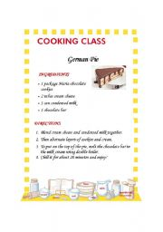 English Worksheet: German Pie (recipe)
