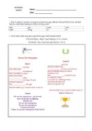 English Worksheet: We are the Champions - Queen