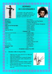 English Worksheets: EDWARD SCISSORHANDS - (( 6 pages )) - Complete Unit of Work- intermediate to advanced