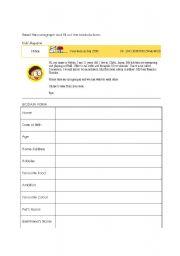 English Worksheets: Biodata Form